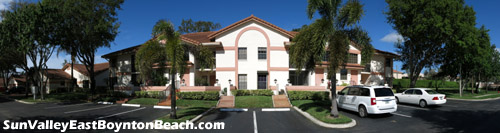 Front view of a condo building in Sun Valley East in Boynton Beach, FL.